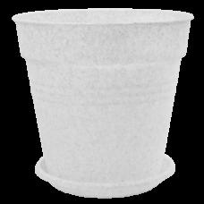 Вазон с подставкой «Глория» 24*22,5 см 6,6 л (белый флок) Алеана 114017