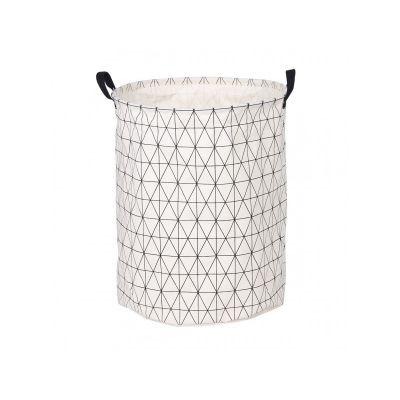 Корзина для белья круглая тканевая, цвет белый меланж, 40*50 см, ТМ МД