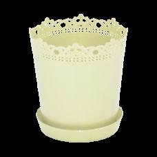"""Вазон """"Ришелье"""" с подставкой-дренажом 13*13,5 см 0,9 л (жёлтый) Алеана 114059"""
