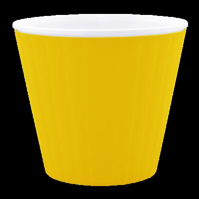 Вазон «Ибис» с двойным дном 15,7*13 см 1,6 л (тёмно-жёлтый/белый) Алеана 114034