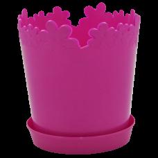 """Вазон """"Лютик"""" с подставкой 13*13,8 см 0,9 л (темно-розовый) Алеана 115000"""
