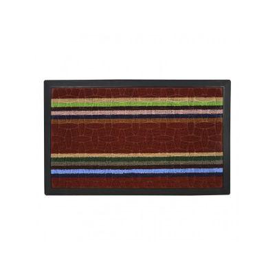 Коврик придверный с узором красный полосатый, полипропилен,ТМ МД,45*75 см
