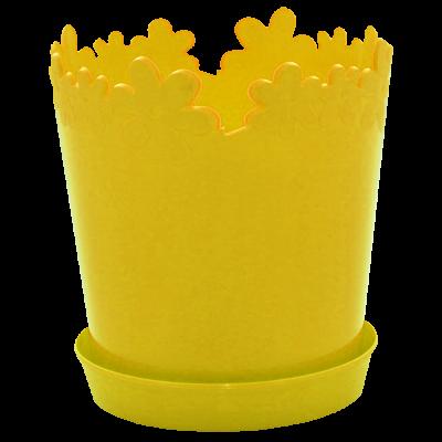 """Вазон """"Лютик"""" с подставкой-дренажом 13*13,8 см 0,9 л (тёмно-жёлтый) Алеана 114061"""