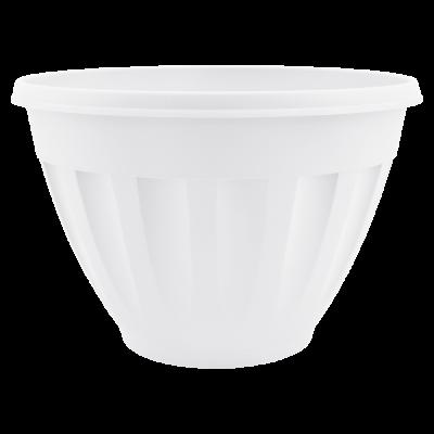 Вазон c подставкой «Жанна» глубокий подвесной 27*18 см 6 л (белый флок) Алеана 112086