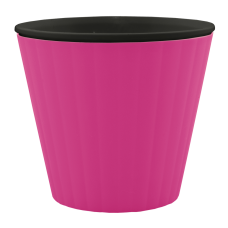 Вазон «Ибис» с двойным дном 13*11,2 см 1 л (тёмно-розовый/черный) Алеана 114032