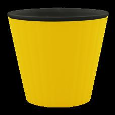 Вазон «Ибис» с двойным дном 15,7*13 см 1,6 л (тёмно-жёлтый/черный) Алеана 114034