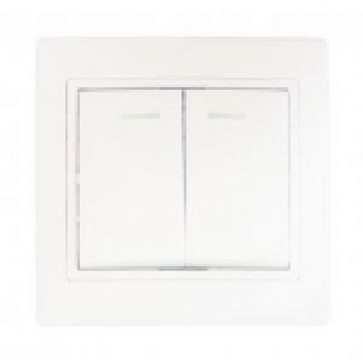 Выключатель двухклавишный с подсветкой BBсб10-2-1-Fl-W АСКО