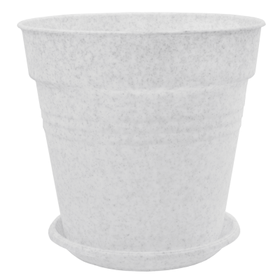 Вазон с подставкой «Глория» 11*10,5 см 0,6 л (белый флок) Алеана 114015