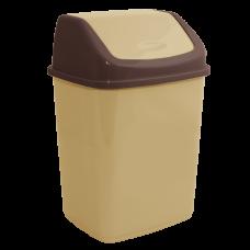 Ведро для мусора 10 л (кремовый/тёмно-коричневый) Алеана 122063