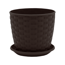 "Вазон ""Ротанг"" с поливом 20*18 см 4,1 л (тёмно-коричневый) Алеана 114025"