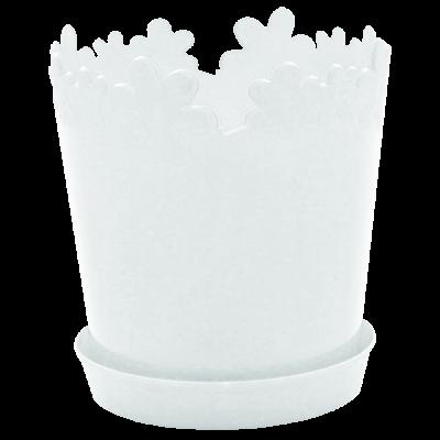 """Вазон """"Лютик"""" с подставкой-дренажом 17*18 см 2 л (белый) Алеана 114062"""