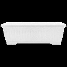 Вазон «Терра» балконный 80*19*16 см 15 л (белый флок) Алеана 114098