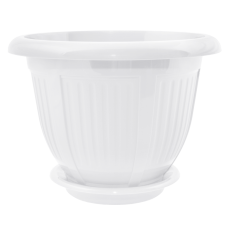 Вазон с подставкой «Волна» 20*16 см 2,1 л (белый) Алеана 112047