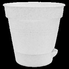 """Вазон с поливом """"Глория"""" 12*11,5 см 0,7 л (белый флок) Алеана 114020"""