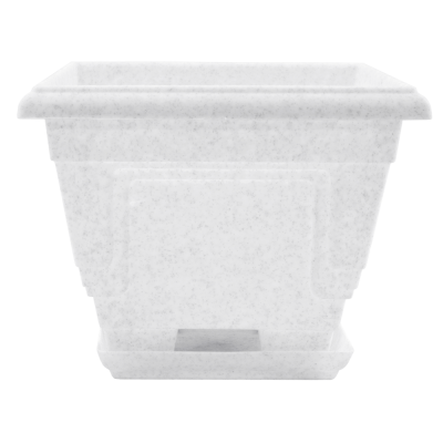 Вазон c подставкой «Петуния» 39*39*30,5 см 21,5 л (белый флок) Алеана 113013