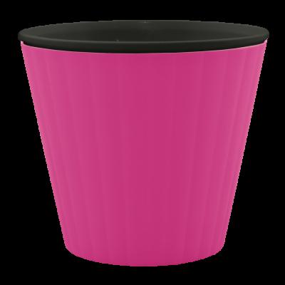 Вазон «Ибис» с двойным дном 15,7*13 см 1,6 л (тёмно-розовый/черный) Алеана 114034