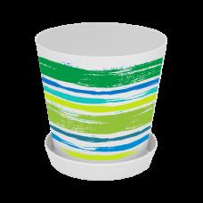 "Вазон ""Деко"" со вставкой 13*12,5 см 1 л (Краски, зеленый) Алеана 114040"