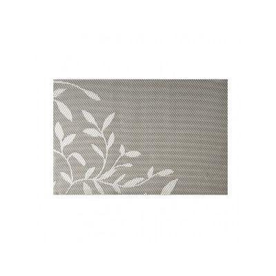 Коврик сервировочный под столовые приборы, серые листочки, 30х45 см, ТМ МД