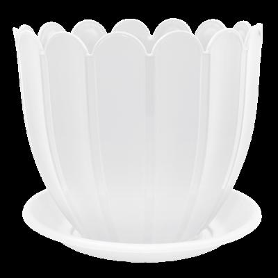 Вазон c подставкой «Марго» 23*20,5 см 5 л (белый) Алеана 112073