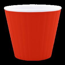 Вазон «Ибис» с двойным дном 15,7*13 см 1,6 л (красный бархат/белый) Алеана 114034
