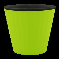 Вазон «Ибис» с двойным дном 13*11,2 см 1 л (оливковый/черный) Алеана 114032