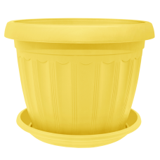 Вазон с подставкой «Терра» 14*11 см 0,8 л (жёлтый) Алеана 112068