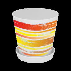 "Вазон ""Деко"" со вставкой 13*12,5 см 1 л (Краски, оранжевый) Алеана 114040"