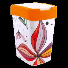 """Ведро для мусора """"Евро"""" с декором 18 л (Цветы, оранжевый) Алеана 121067"""