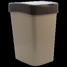 """Ведро для мусора """"Евро"""" 10 л (кремовый/тёмно-коричневый) Алеана 122066"""