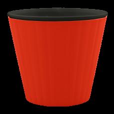 Вазон «Ибис» с двойным дном 15,7*13 см 1,6 л (красный бархат/черный) Алеана 114034