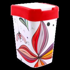 """Ведро для мусора """"Евро"""" с декором 10 л (Цветы, красный) Алеана 121066"""