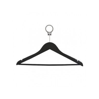 Вешалка одежная, ТМ МД, с нарезами, черная антивандальное кольцо 44,5 х 23,0 х 1,2 см .