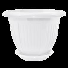 Вазон с подставкой «Волна» 24*19 см 3,8 л (белый) Алеана 112046
