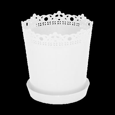 """Вазон """"Ришелье"""" с подставкой 13*13,5 см 0,9 л (белый) Алеана 115002"""