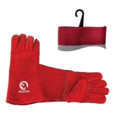 Перчатка замшевая красная ящик 60 пар INTERTOOL SP-0156W
