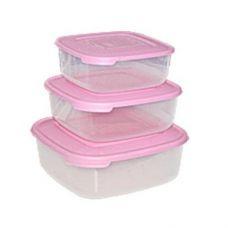 Набор контейнеров для пищевых продуктов 0,95л 1,5л 2,5л квадрат Консенсус