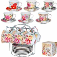 Сервиз чайный на стойке Цветы Микс 200 мл 12 предметов SnT 1250