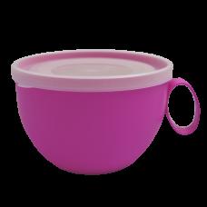 Чашка с крышкой 0,5 л (тёмно-розовый/прозрачный) Алеана 168006