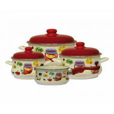 Набор посуды 7 предметов (кастрюли 2л, 3,5л, 5л + ковш 1,5 л в подарок) Metalac 2554 Варенье