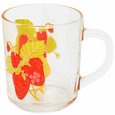 """Чашка стекл. с рисунком """"Клубника"""" 9304"""