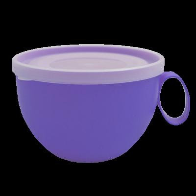 Чашка с крышкой 0,5 л (фиолетовый/прозрачный) Алеана 168006