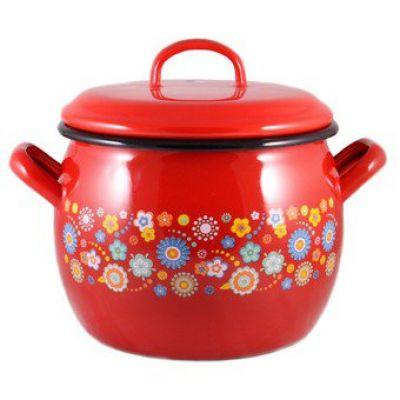 Кастрюля эмалированная Цветы на красном Металац 138783