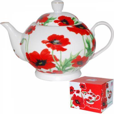 """Чайник SnT """"Красный мак"""" керам. 22303"""