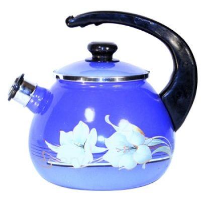 Чайник эмалированный со свистком, 2,5 л.