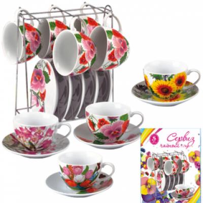 Сервиз чайный Цветы Микс 12 предметов SnT 1460