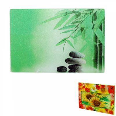 Доска разделочная стеклянная Зеленый бамбук SnT 9552