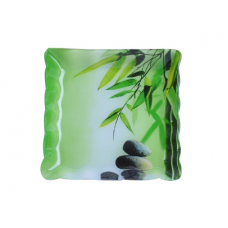 Тарелка квадратная с волнистым краем 20 см Зеленый бамбук SnT 3720