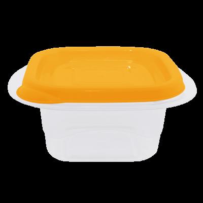 """Контейнер для пищевых продуктов """"Омега"""" квадратный 1 л (оранжевый/прозрачный) Алеана 168011"""