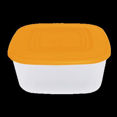 Контейнер для пищевых продуктов квадратный 3 л (оранжевый/прозрачный) Алеана 167015