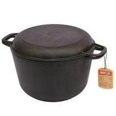 Кастрюля чугунная с крышкой-сковородкой Биол 0203